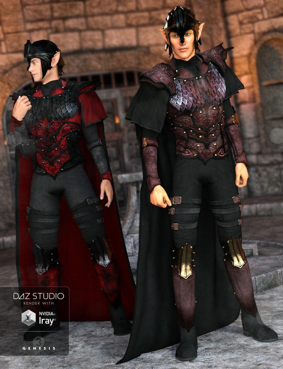 Elven Knight Armor Male Textures_DAZ3D下载站