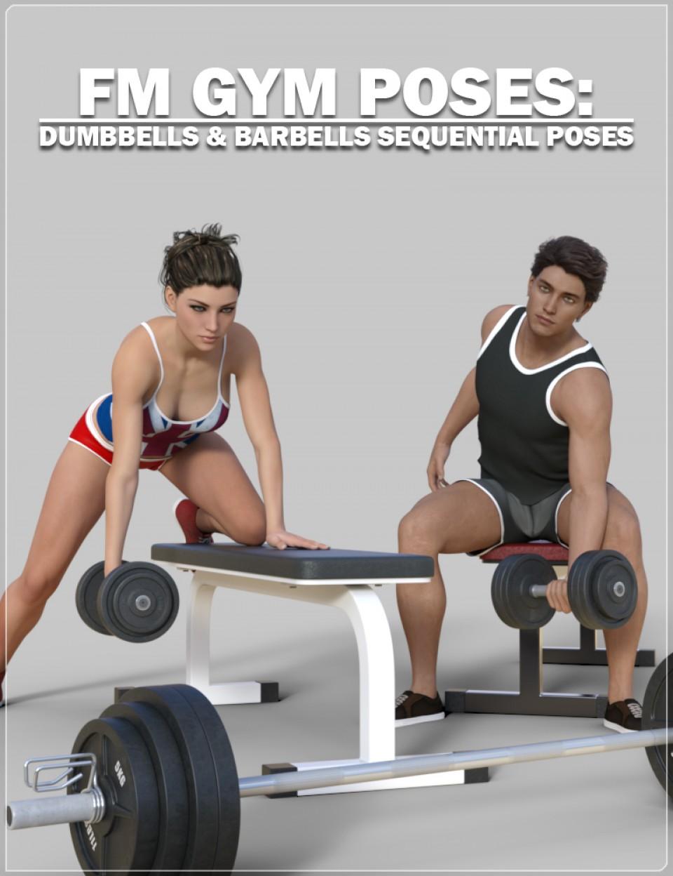FM Gym Poses: Dumbbells & Barbells_DAZ3D下载站