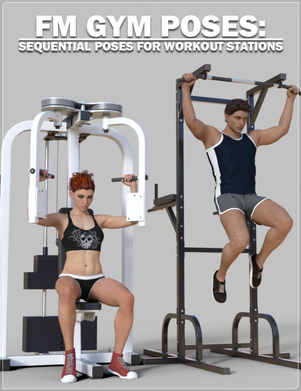 FM Gym Poses: Workout Stations_DAZ3D下载站