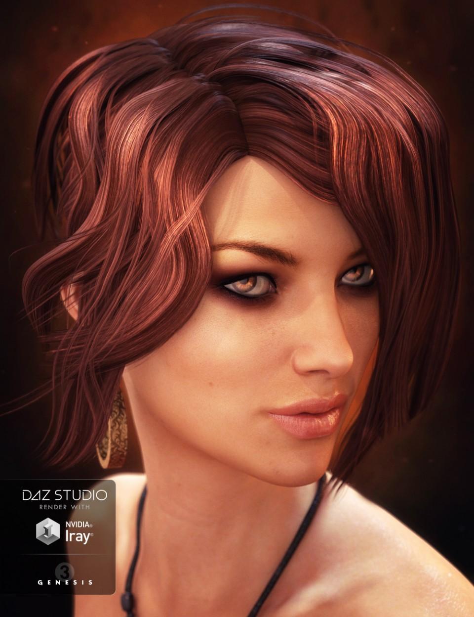 Flashy Hair for Genesis 3 Female(s)_DAZ3D下载站