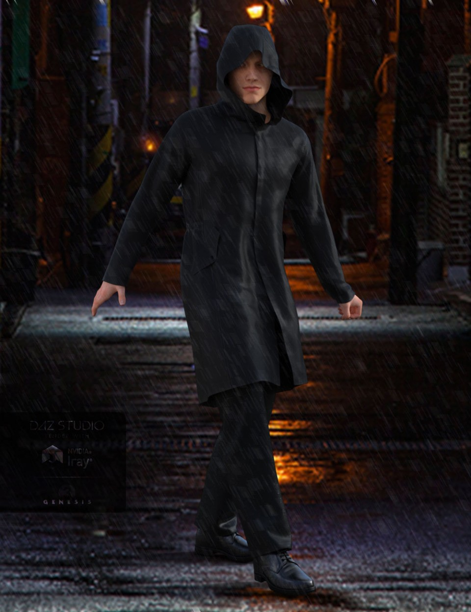 H&C Raincoat Outfit for Genesis 3 Male(s)_DAZ3D下载站