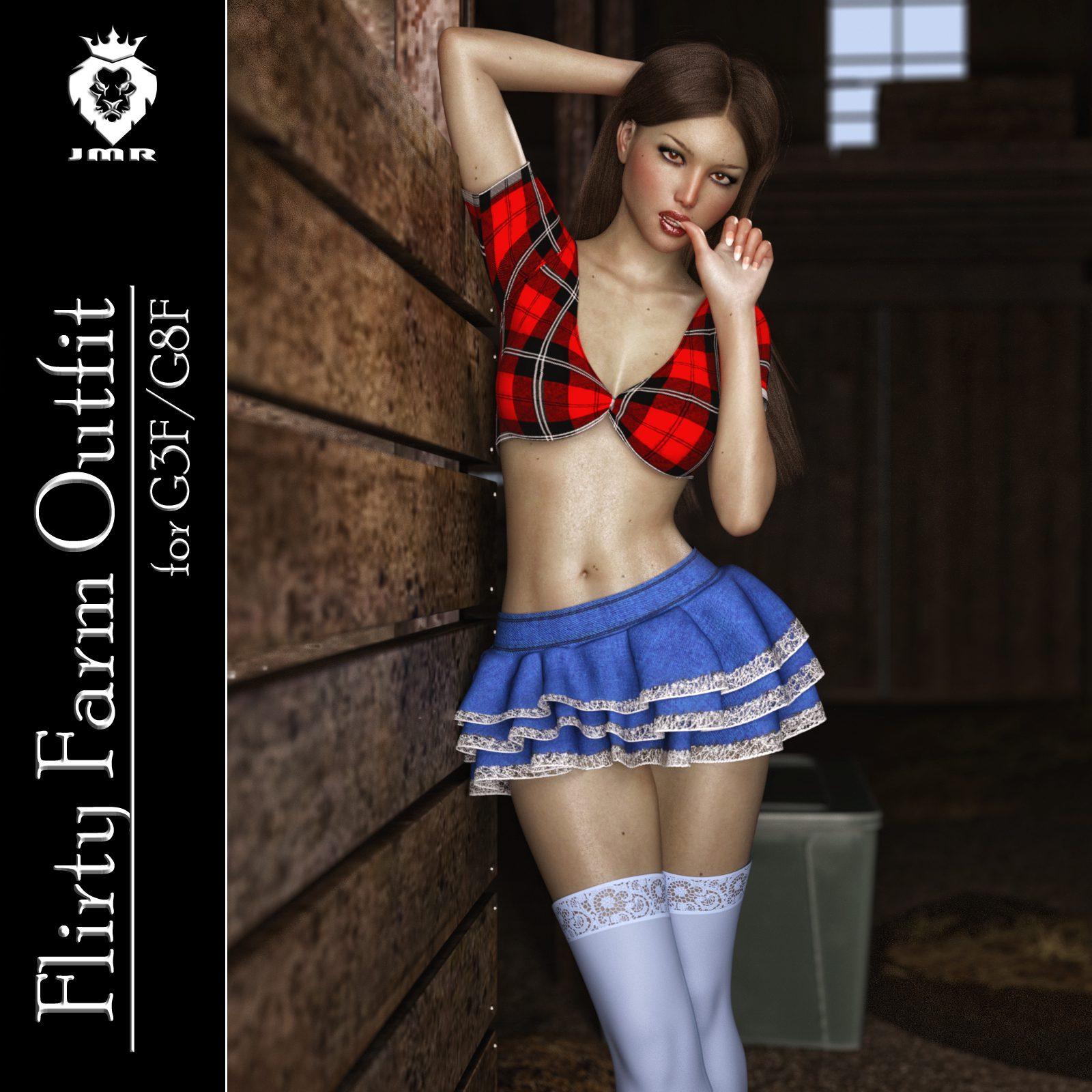 JMR Flirty Farm Outfit for G3F/G8F_DAZ3D下载站