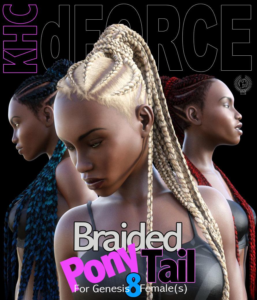 KHC – Braided Pony Tail For Genesis 8 Females_DAZ3D下载站