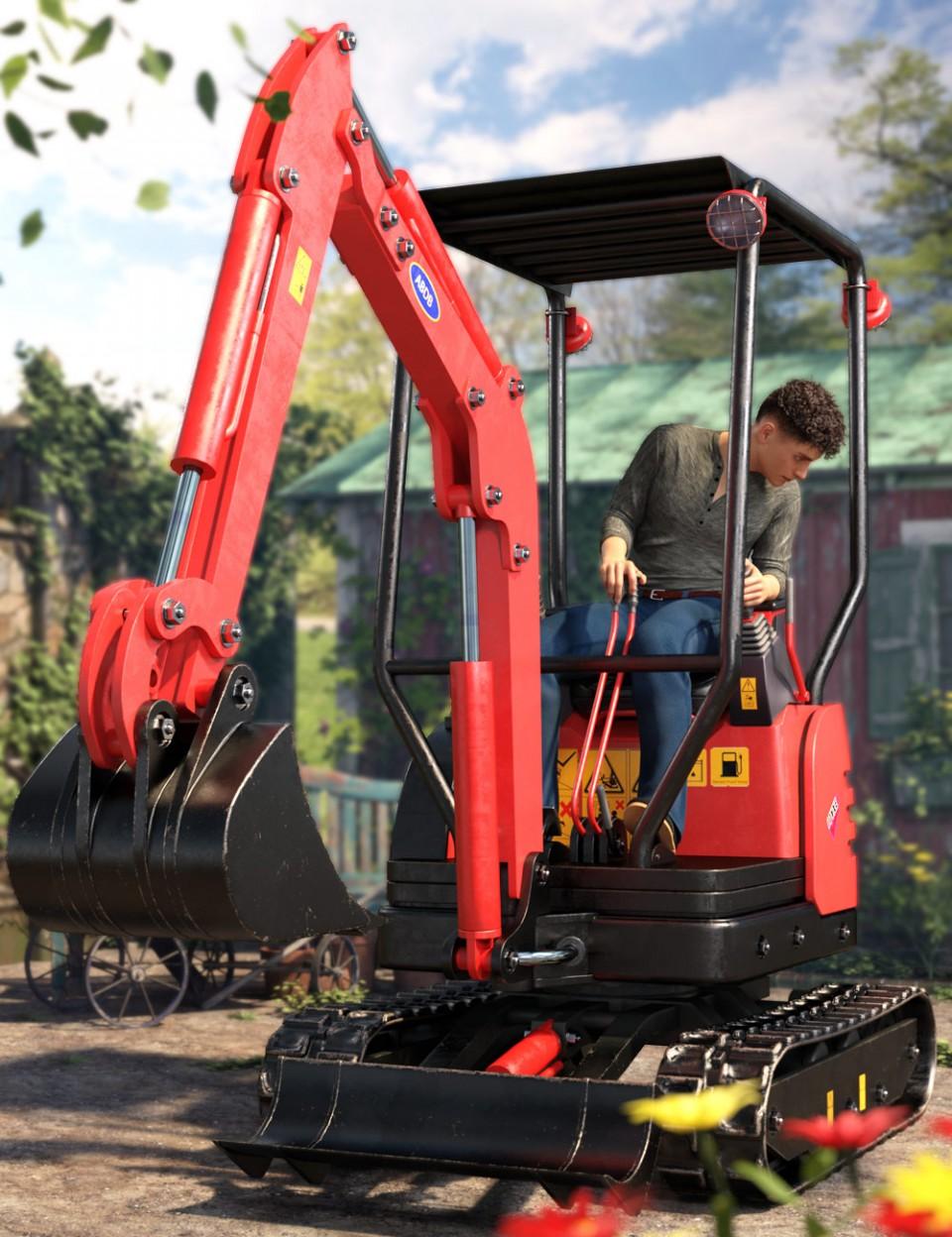 Mini Digger Excavating Poses for Genesis 8_DAZ3D下载站