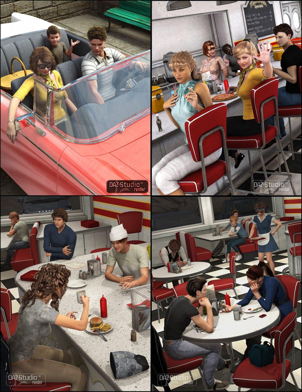 Moonshine Diner Pose Collection_DAZ3D下载站