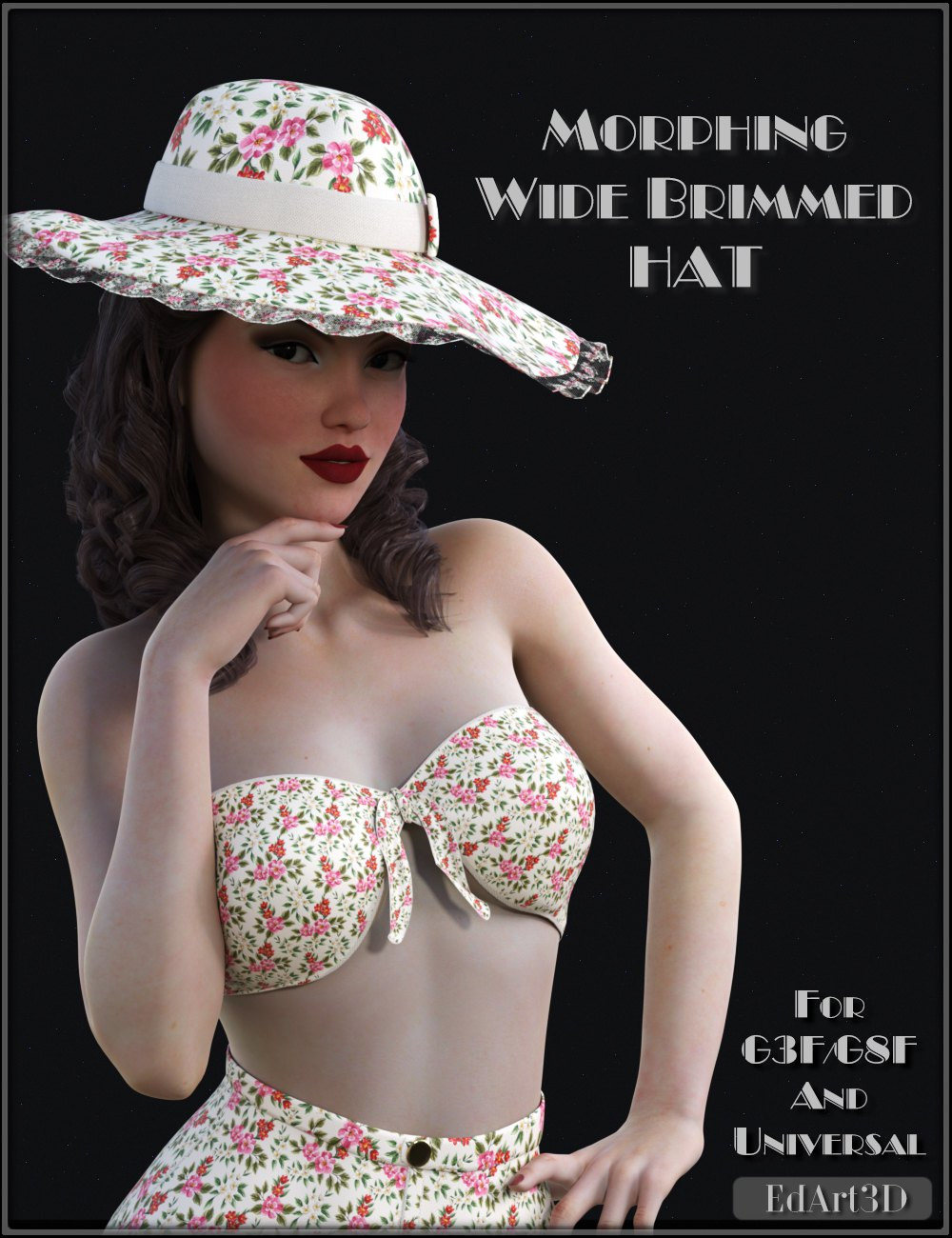 Morphing Wide Brimmed Hat for G3F/G8F and Universal Prop_DAZ3D下载站