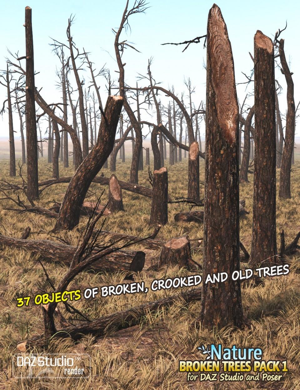 Nature – Broken Trees Pack 1_DAZ3D下载站