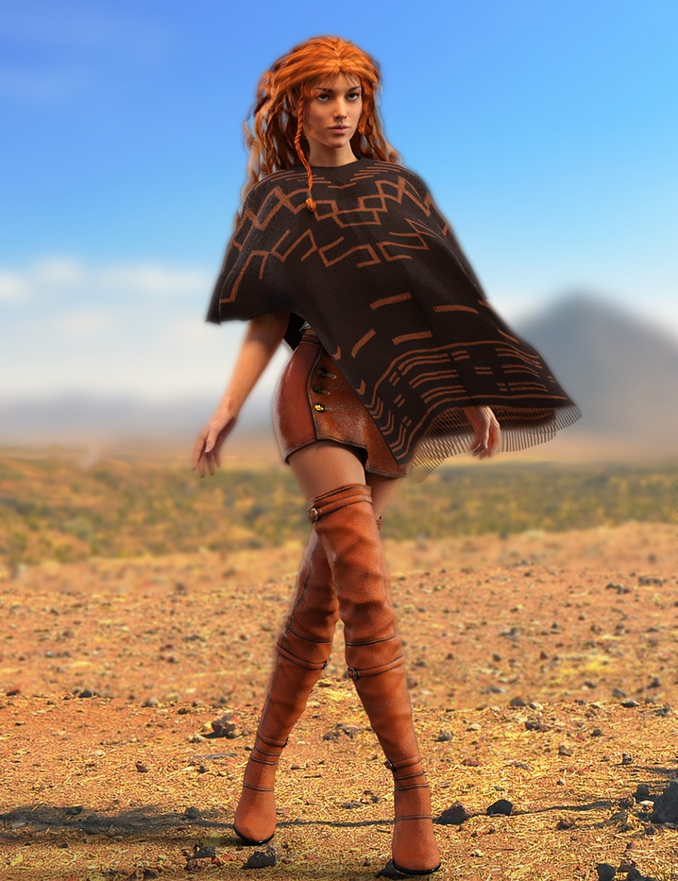 Poncho Girl Outfit for Genesis 3 Female(s) and Victoria 7_DAZ3D下载站