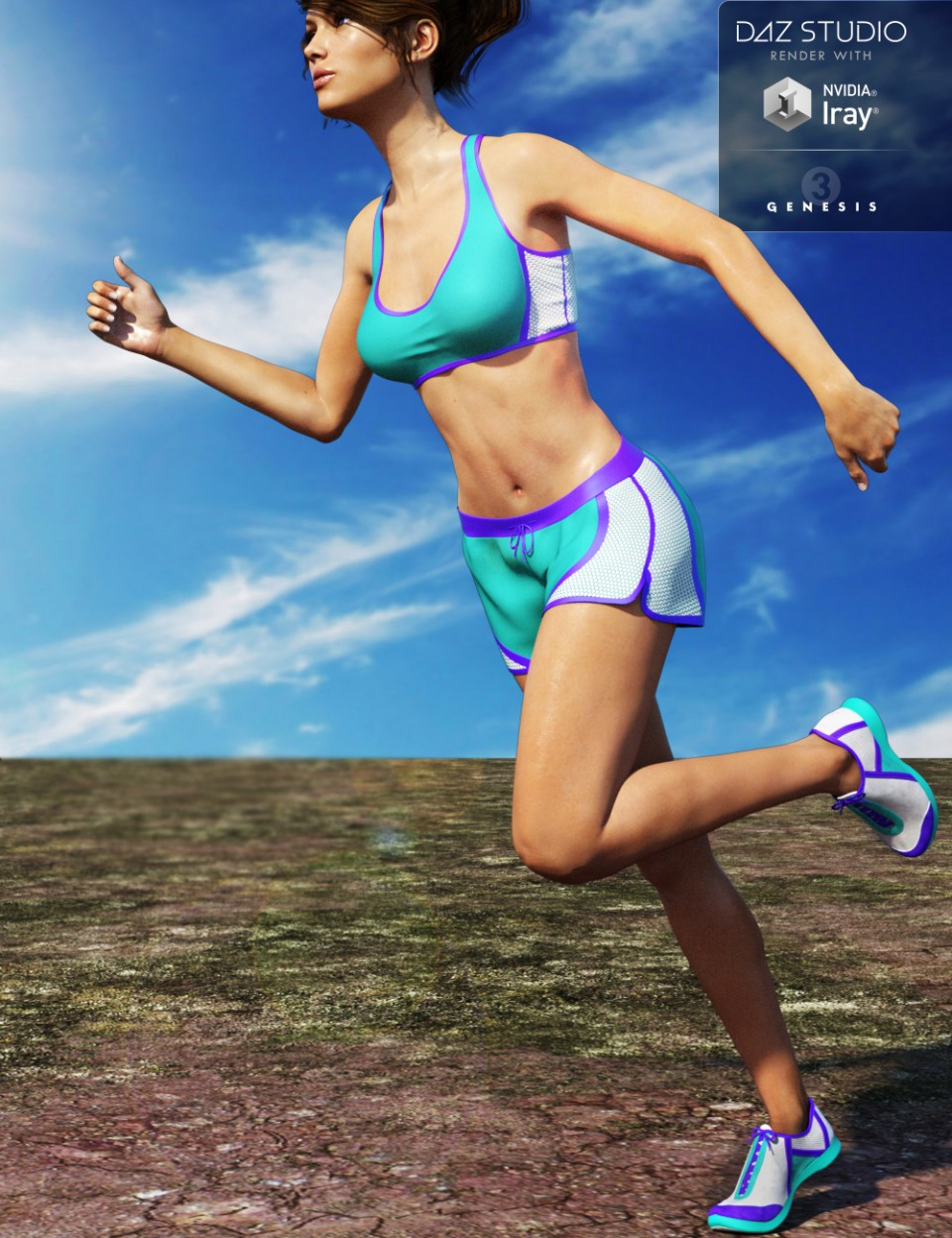 Running Outfit for Genesis 3 Female(s)_DAZ3D下载站