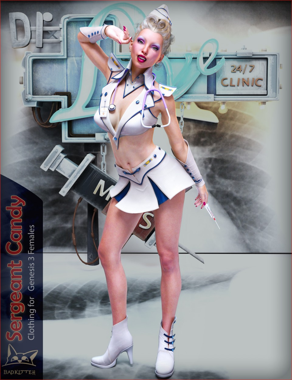 Sergeant Candy Outfit for Genesis 3 Female(s)_DAZ3D下载站
