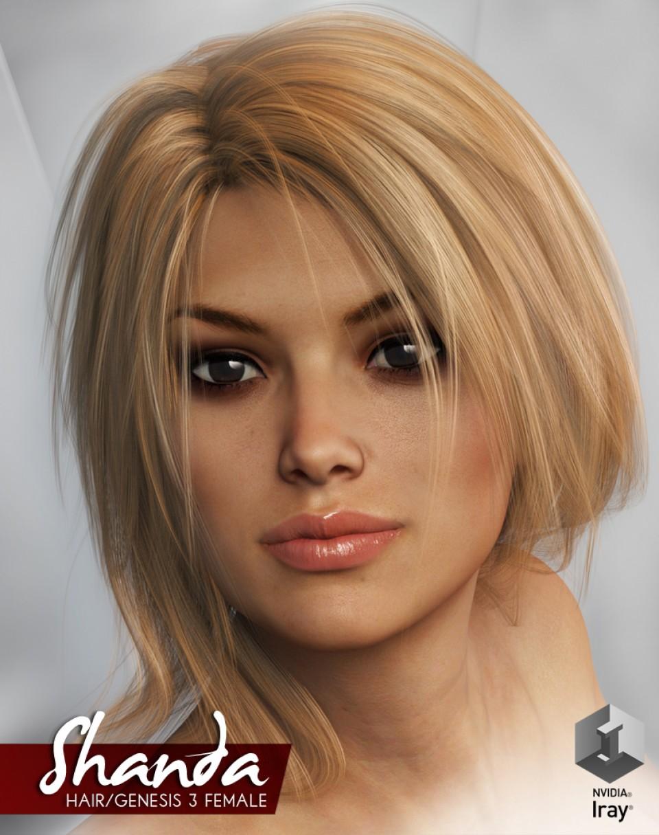 Shanda Hair + Colour Therapy for Genesis 3 Female_DAZ3D下载站