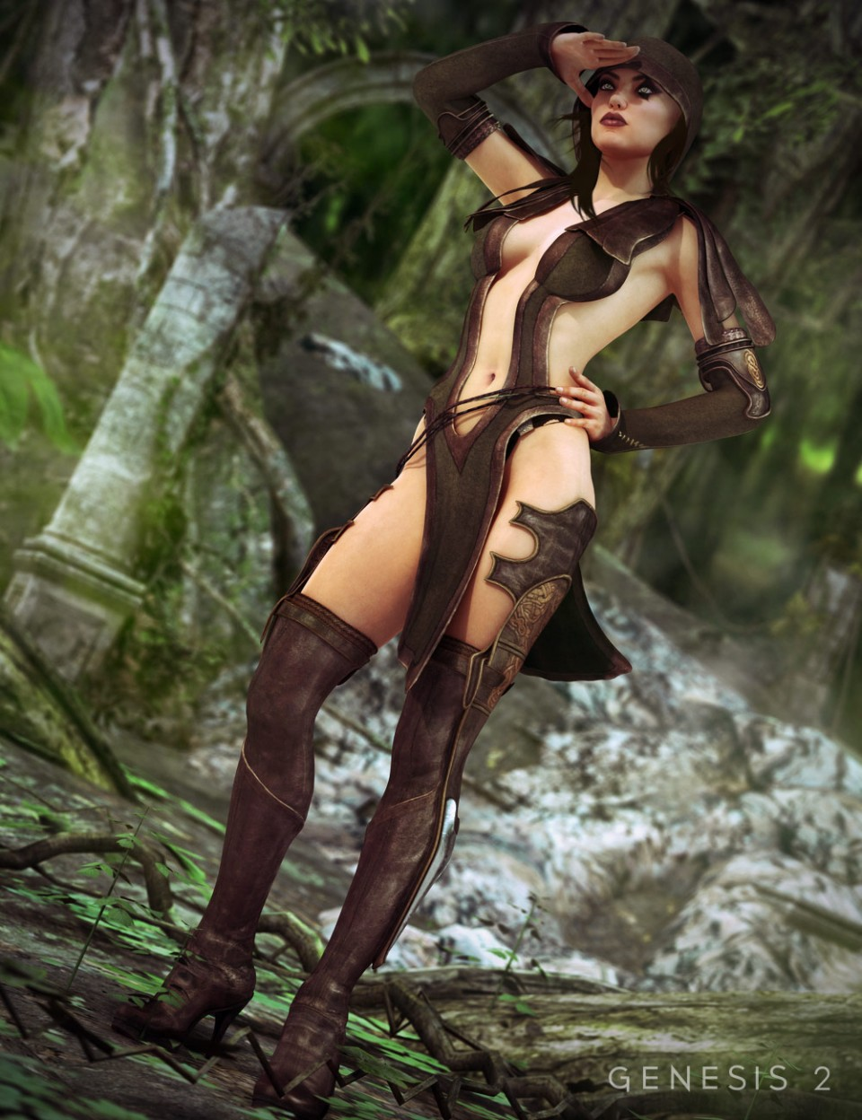 Sherwood Huntress Outfit + Textures For Genesis 2 Female(s)_DAZ3D下载站