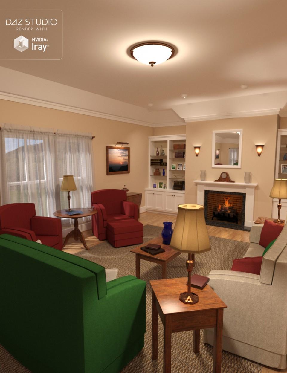 Simple Living – Living Room_DAZ3D下载站