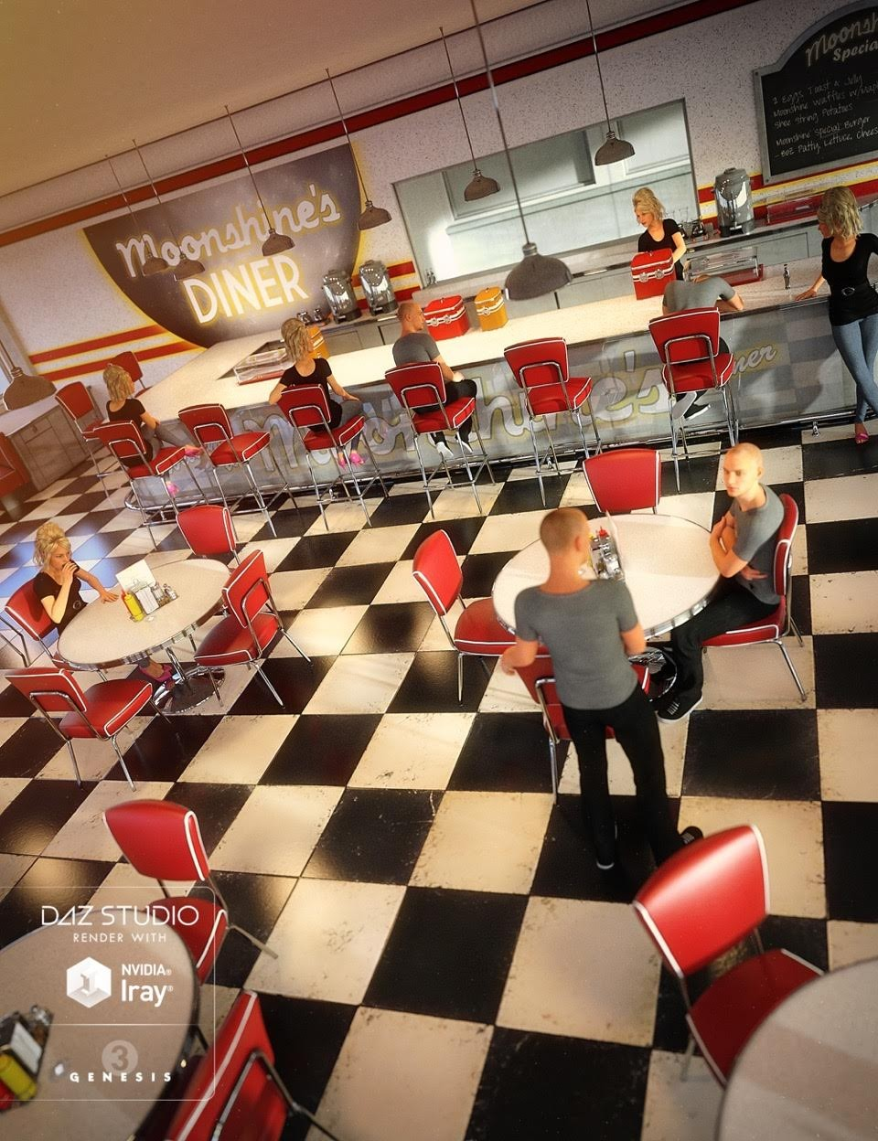 Social Interactions for Moonshine Diner_DAZ3D下载站