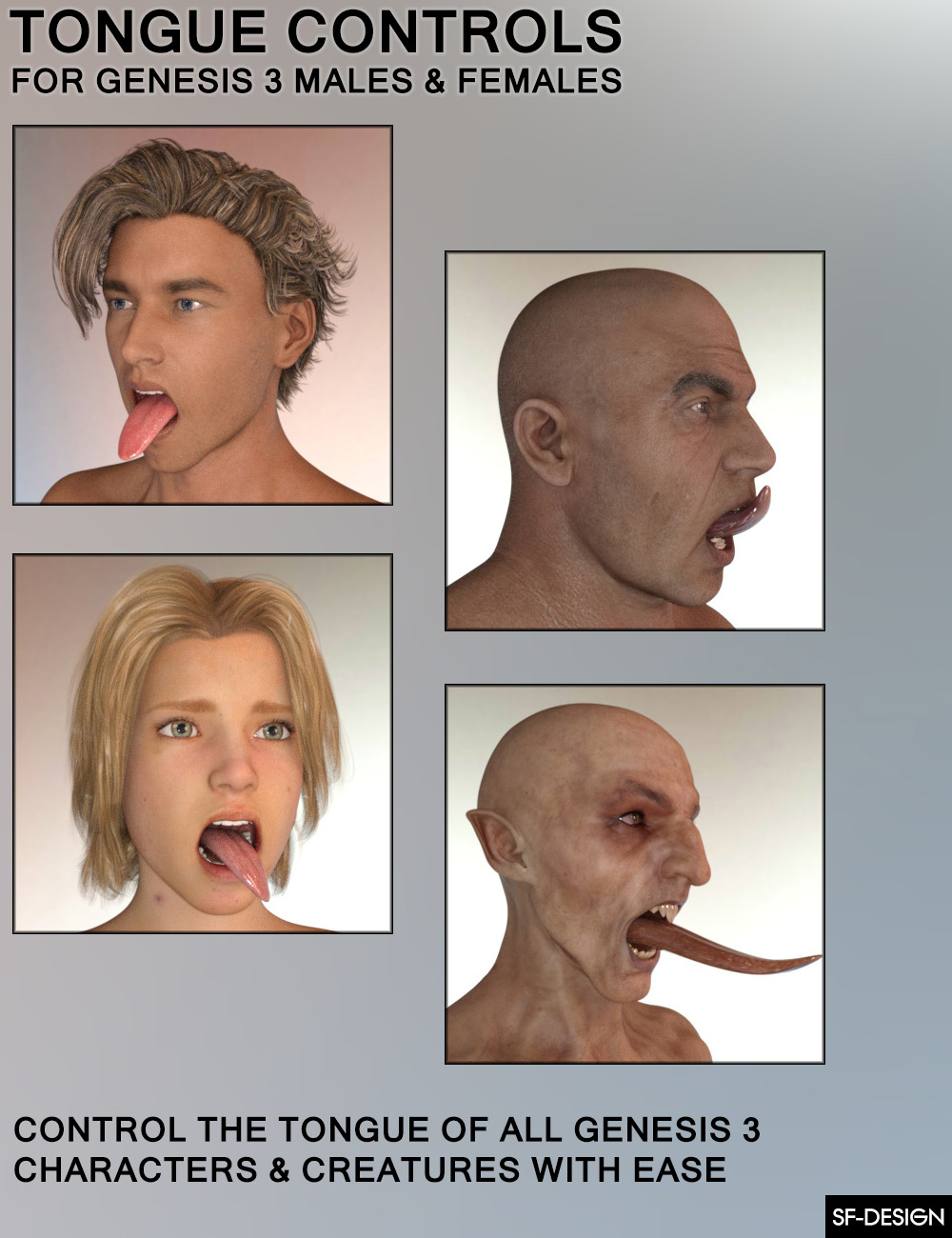 Tongue Controls for Genesis 3 Males and Females_DAZ3D下载站