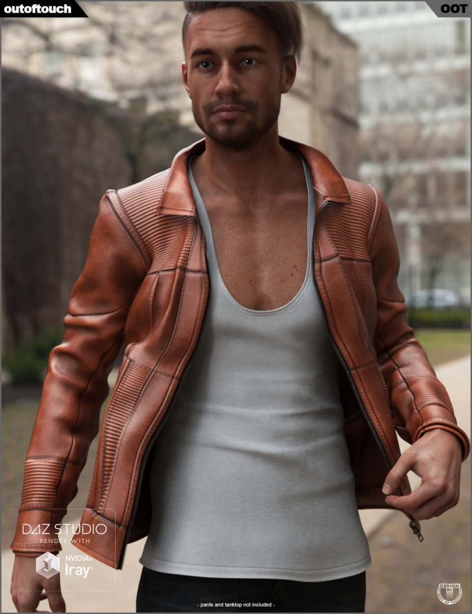 Vintage Leather Jacket for Genesis 8 Male(s)_DAZ3D下载站