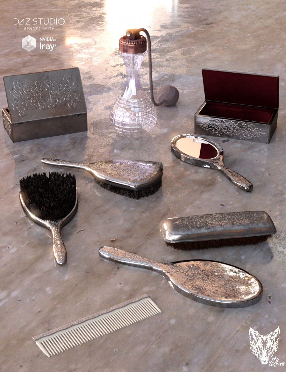 Vintage Vanity Accessories_DAZ3D下载站
