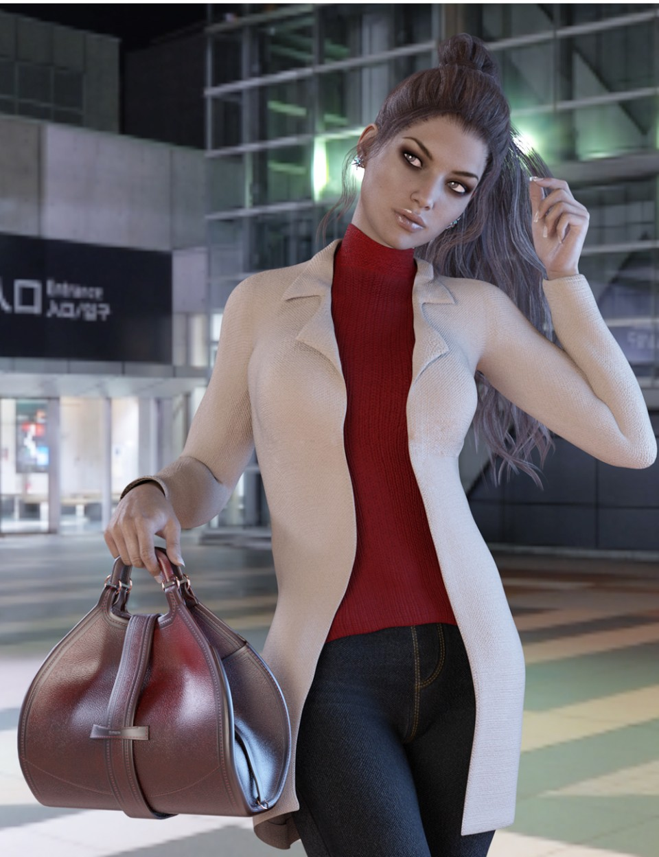 X-Fashion Chic Winter Outfit for Genesis 3 Female(s)_DAZ3D下载站