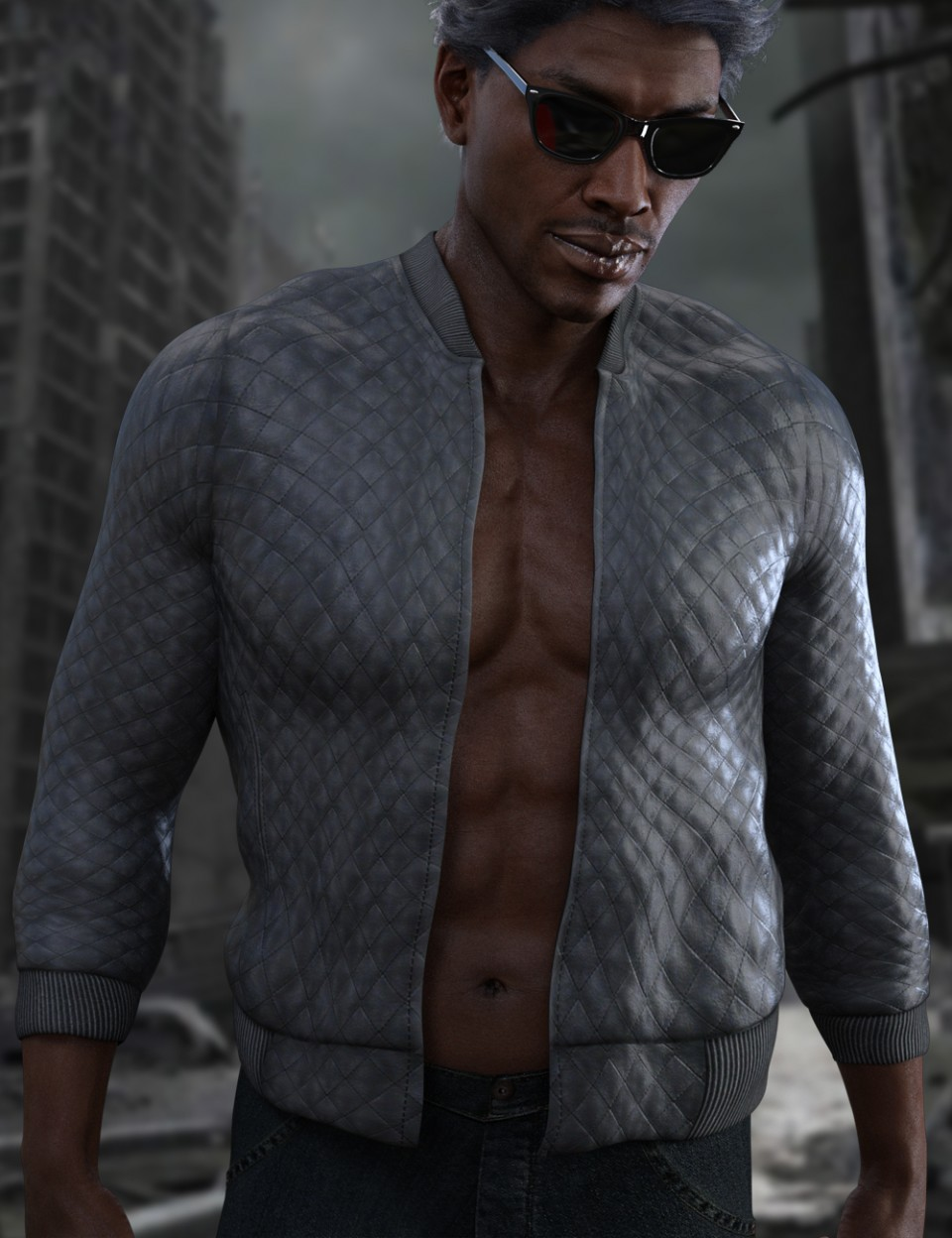 X-Fashion Faux Leather Jacket for Genesis 3 Male(s)_DAZ3D下载站