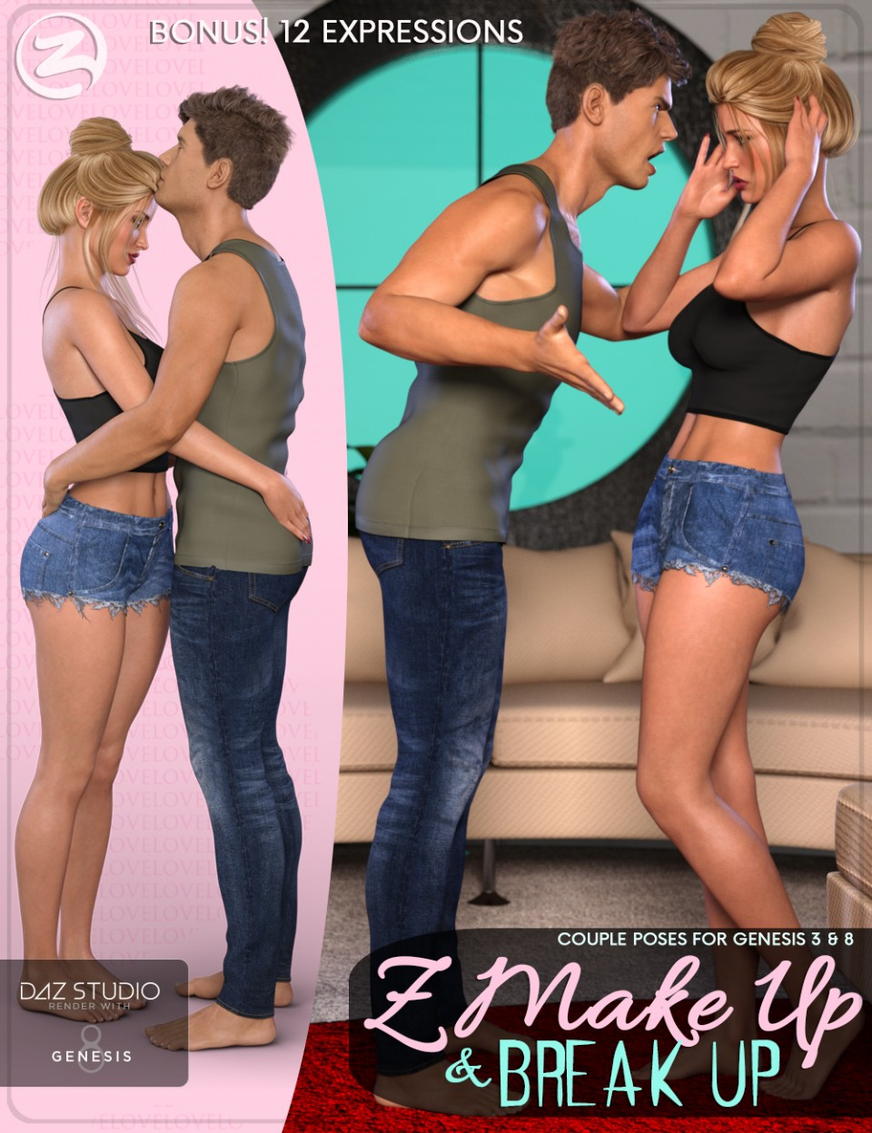 Z Make Up and Break Up – Couple Poses and Expressions for Genesis 3 & 8_DAZ3D下载站
