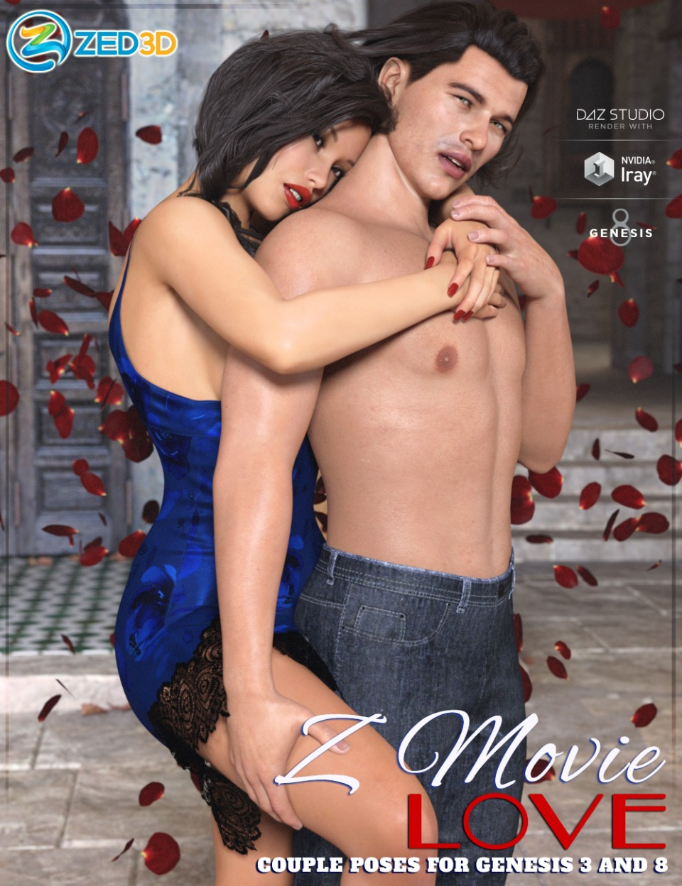 Z Movie Love Couple Poses for Genesis 3 and 8_DAZ3D下载站