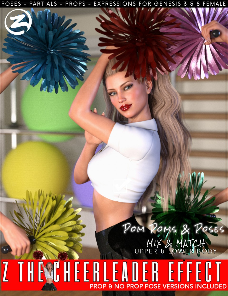 Z The Cheerleader Effect – Props and Poses for Genesis 3 and 8 Female_DAZ3D下载站