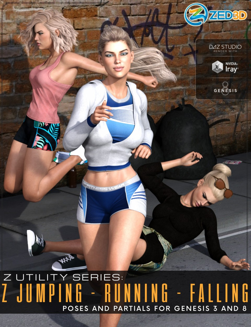 Z Utility Series: Jumping Running Falling – Poses and Partials for Genesis 3 and 8_DAZ3D下载站