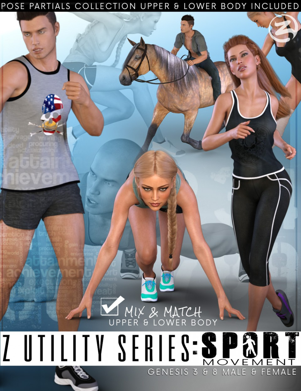 Z Utility Series Sport: Movement – Poses and Partials for Genesis 3 and 8_DAZ3D下载站