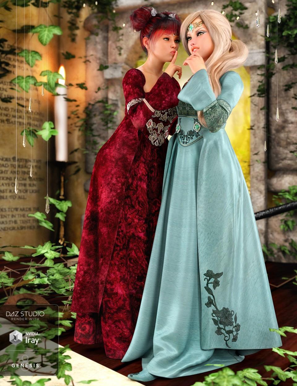 dForce Maiden Princess Outfit Textures_DAZ3D下载站