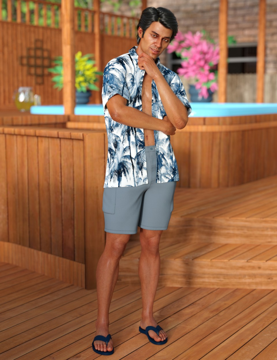 dForce Poolside Oahu Outfit for Genesis 8 Male(s)_DAZ3D下载站