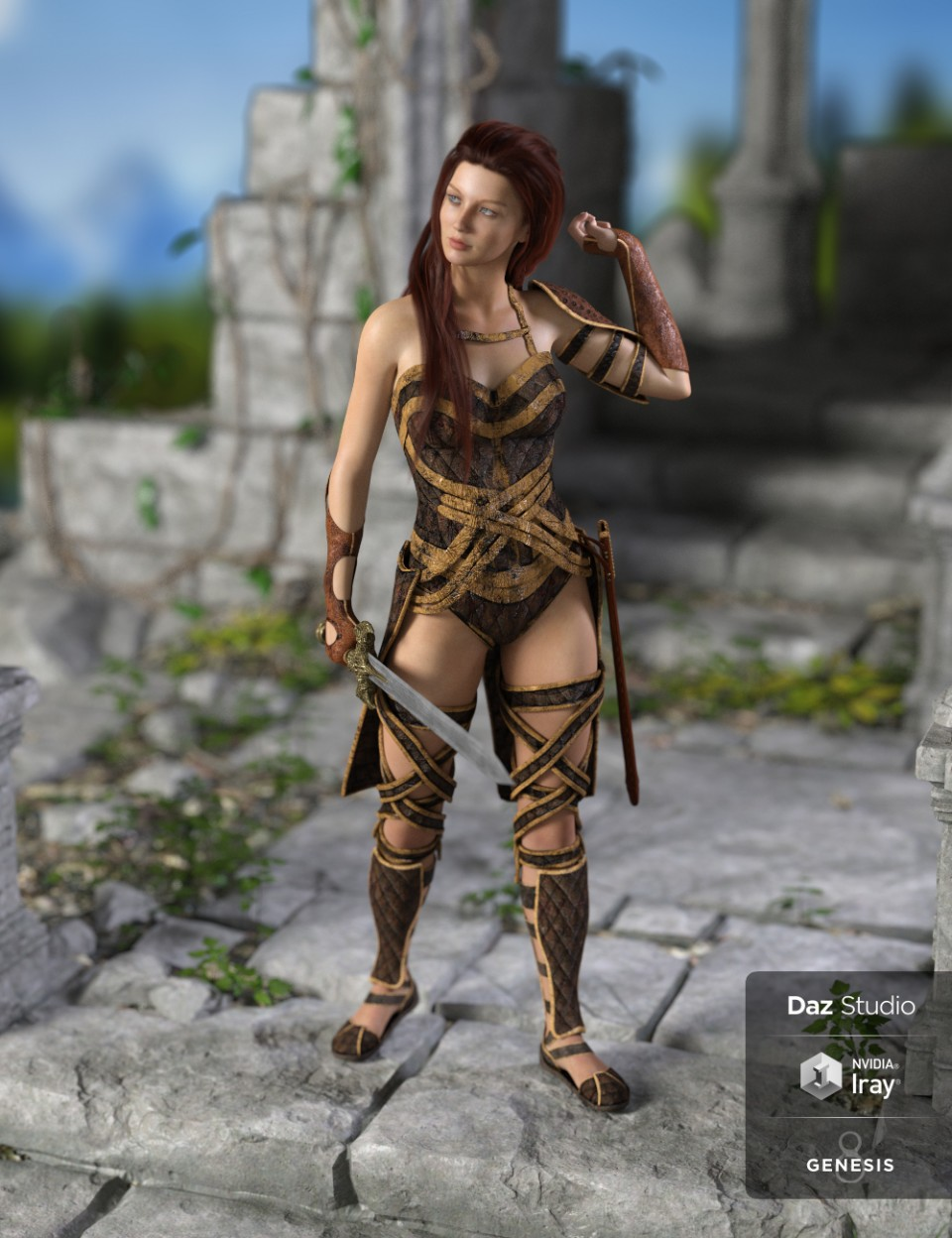 dForce Warrior Amazonia Outfit for Genesis 8 Female(s)_DAZ3D下载站