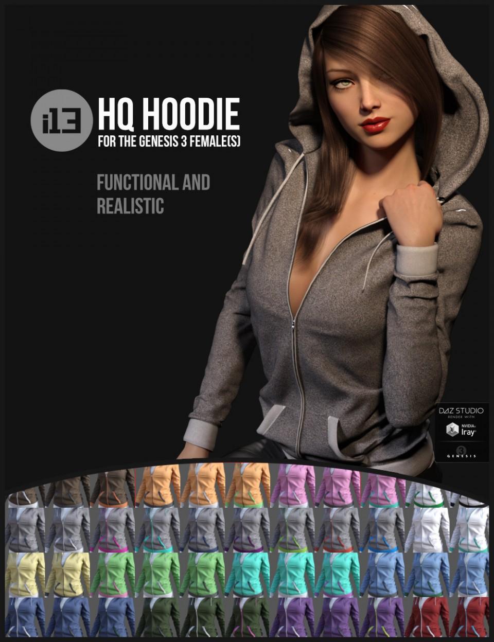 i13 HQ Hoodie for the Genesis 3 Female(s)_DAZ3D下载站