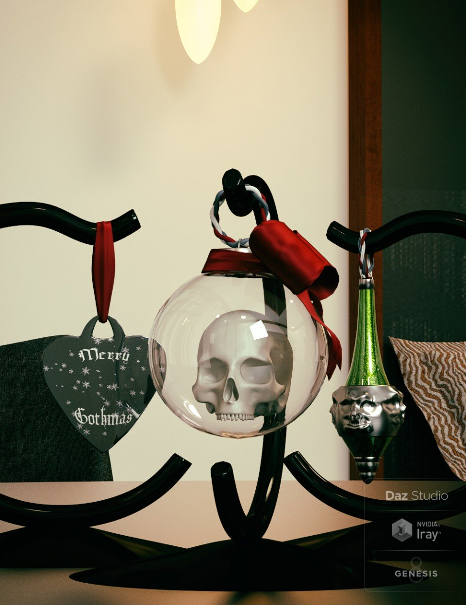 A Gothic Christmas Tabletop Decoration_DAZ3D下载站