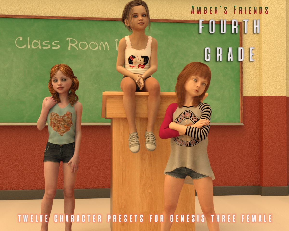 Amber's Friends Fourth Grade_DAZ3D下载站