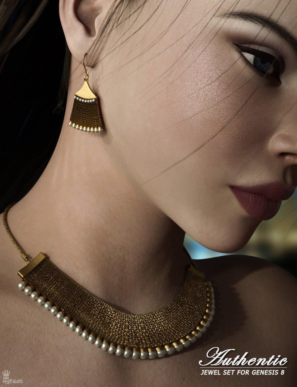 Authentic Jewel Set for Genesis 8 Female(s)_DAZ3D下载站