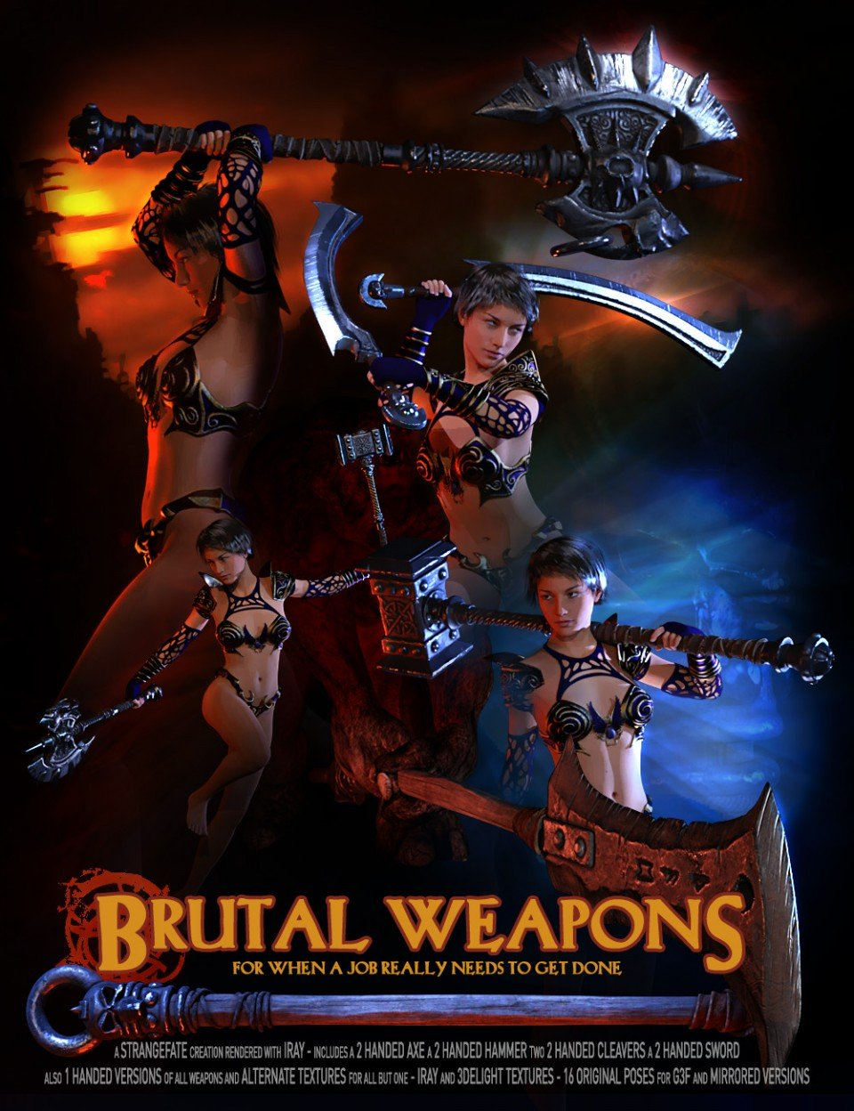 Brutal Weapons and Poses G3_DAZ3D下载站