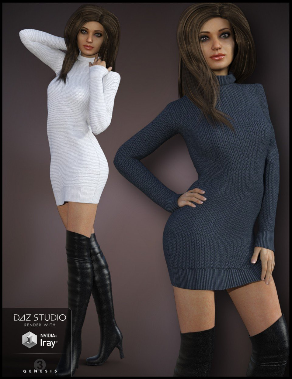 Cozy Sweater Dress Outfit for Genesis 3 Female(s)_DAZ3D下载站