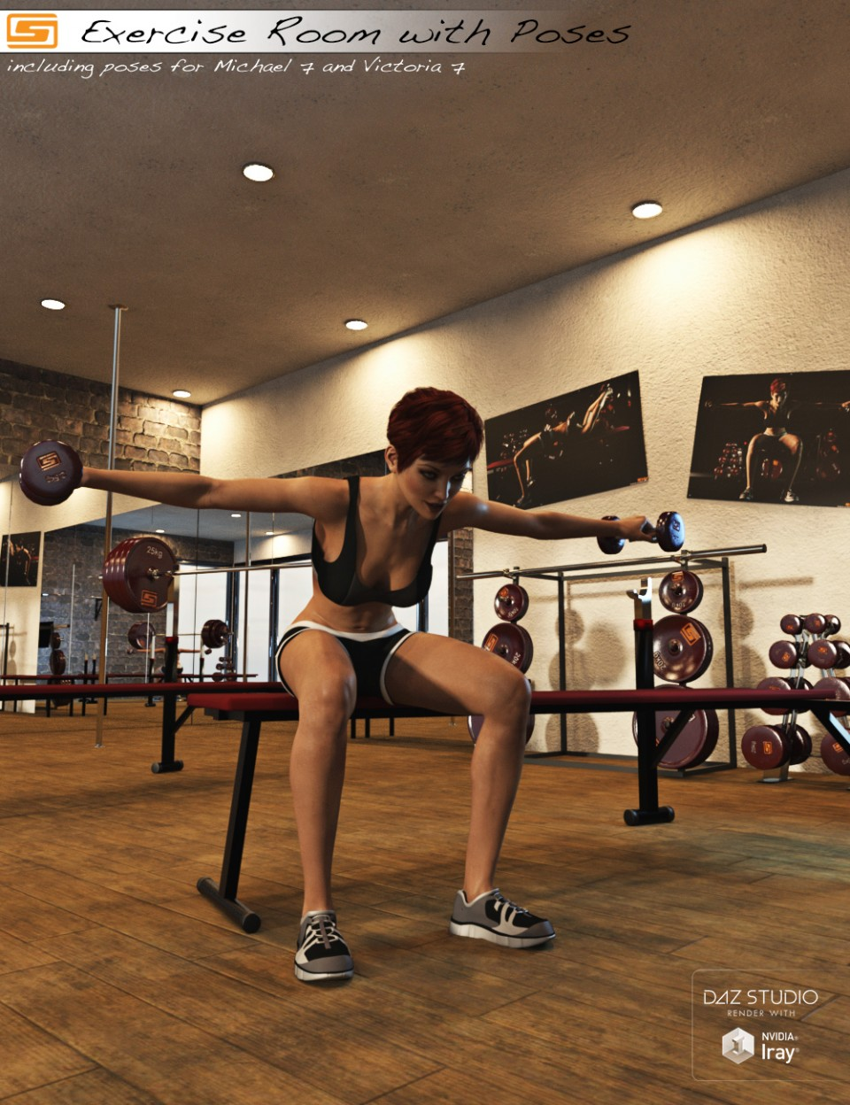 Exercise Room with Poses for Michael 7 and Victoria 7_DAZ3D下载站