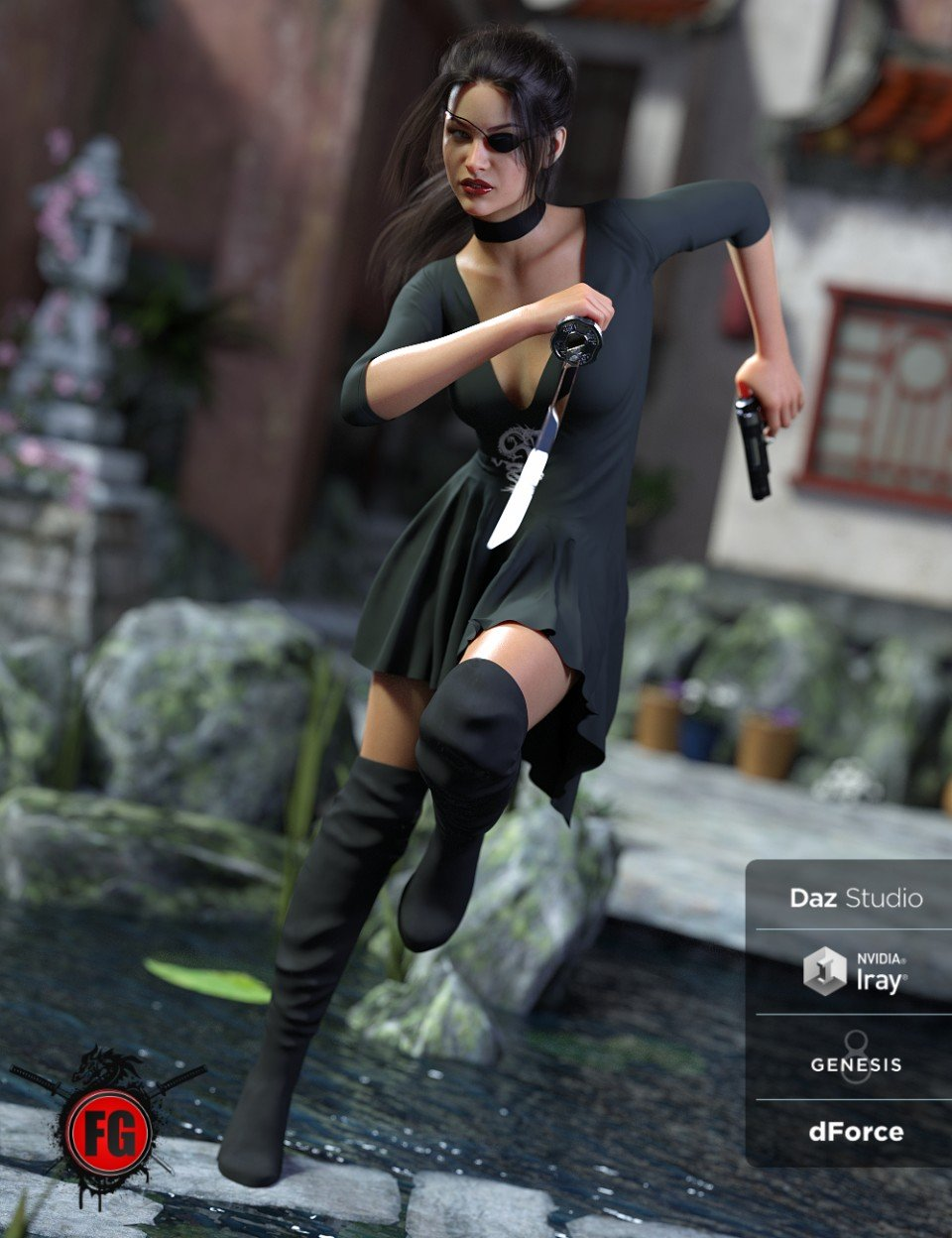 FG dForce Exciting Dress for Genesis 8 Female(s)_DAZ3D下载站
