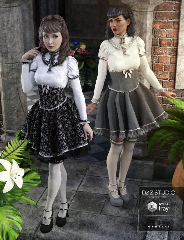 Gothic Lolita for Genesis 3 Females + Textures_DAZ3D下载站