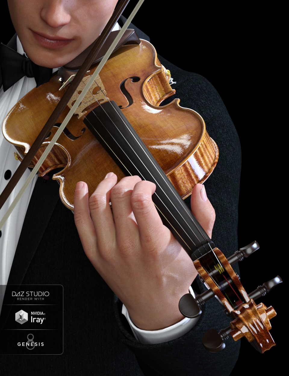 HD Violin and Poses for Genesis 3 and 8_DAZ3D下载站