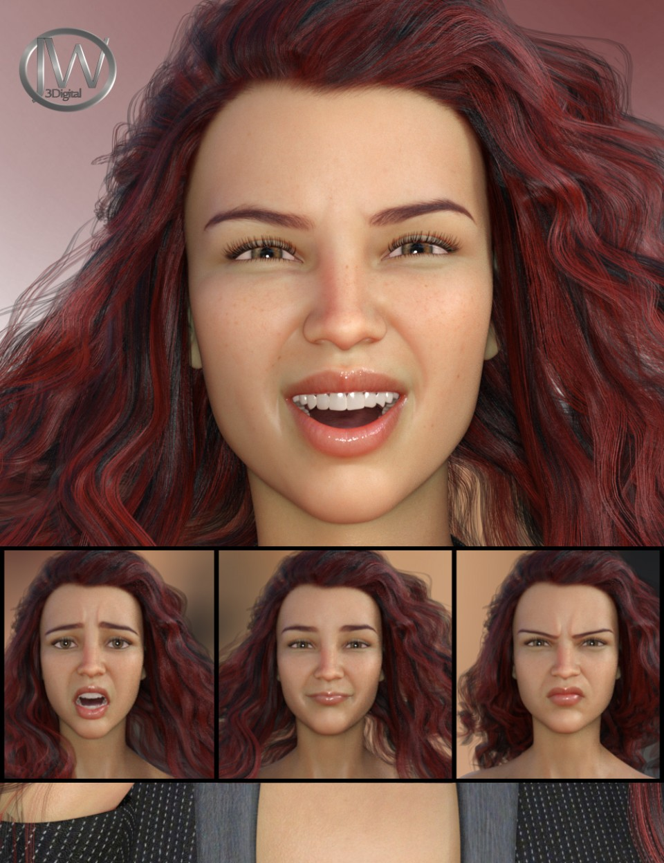 Her Emotions – Expressions for Genesis 8 Female(s) and Charlotte 8_DAZ3D下载站