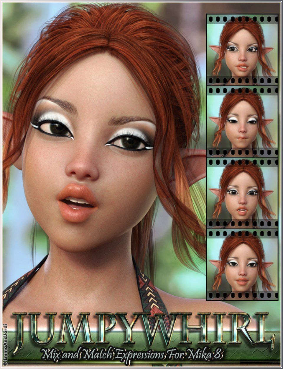 Jumpywhirl Mix and Match Expressions for Mika 8 And Genesis 8 Female(s)_DAZ3D下载站