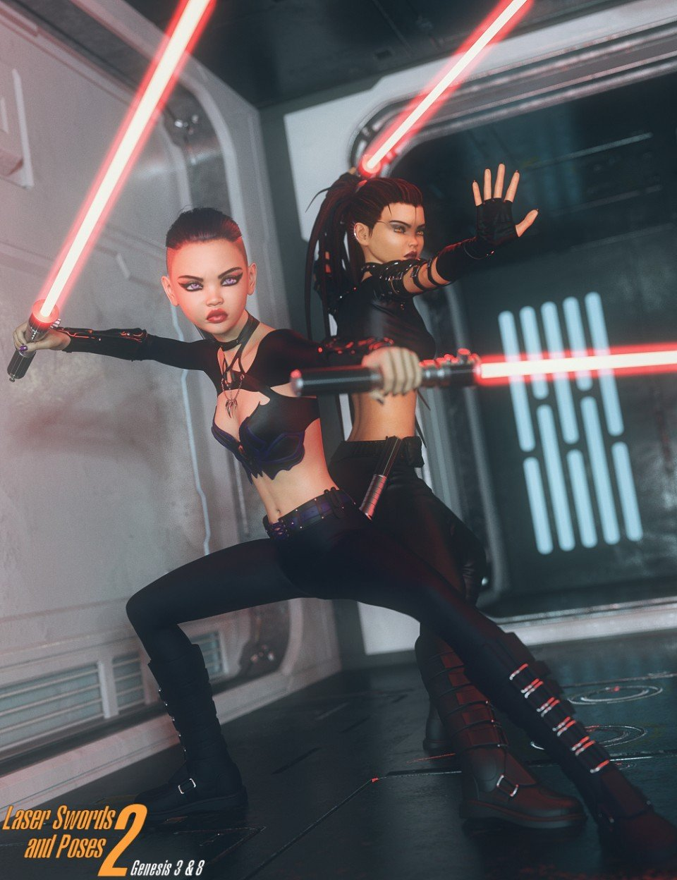 Laser Swords and Poses 2 for Genesis 3 and 8_DAZ3D下载站