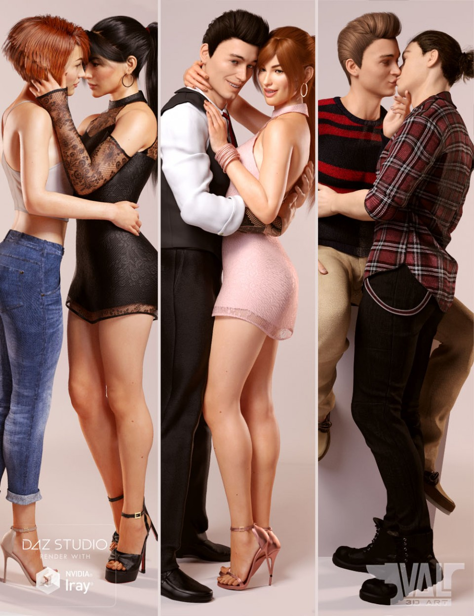 Love is Love Couple Poses for Genesis 8_DAZ3D下载站