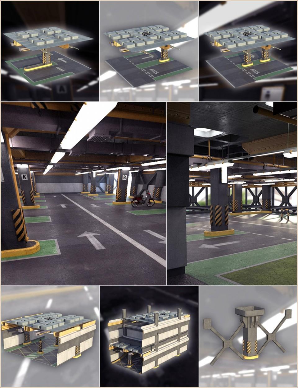 Multi Story Car Park & Construction Kit Bundle_DAZ3D下载站