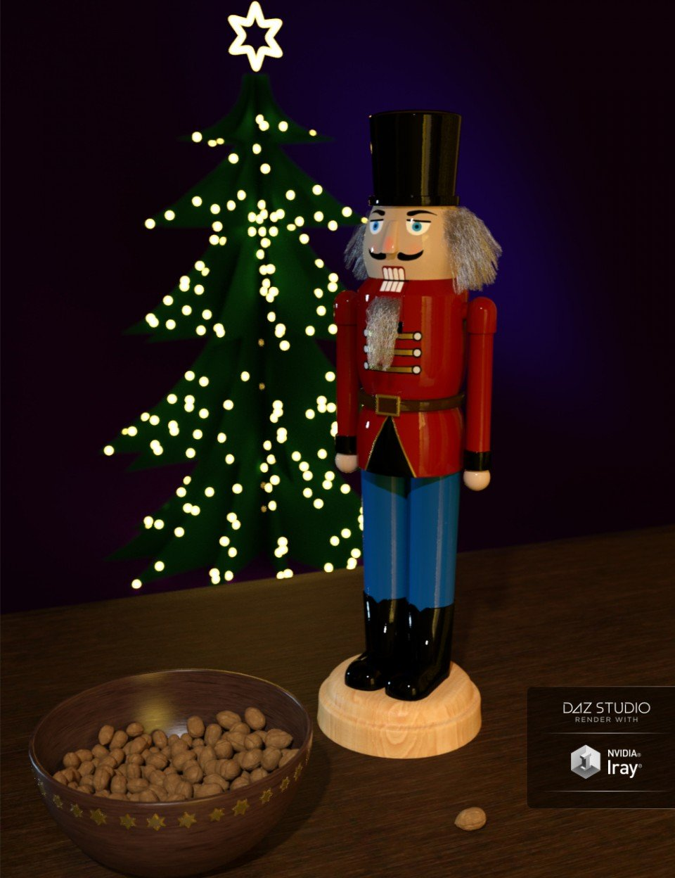 Nutcracker with Strand Based Hair and Bowl with Walnuts_DAZ3D下载站