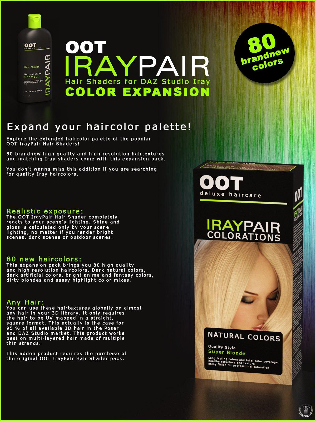 OOT IrayPair Hair Shader XPansion for DAZ Studio Iray_DAZ3D下载站