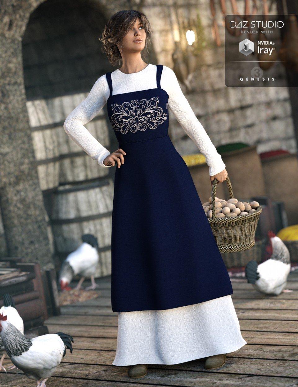 Peasant Dress for Genesis 3 Female(s)_DAZ3D下载站