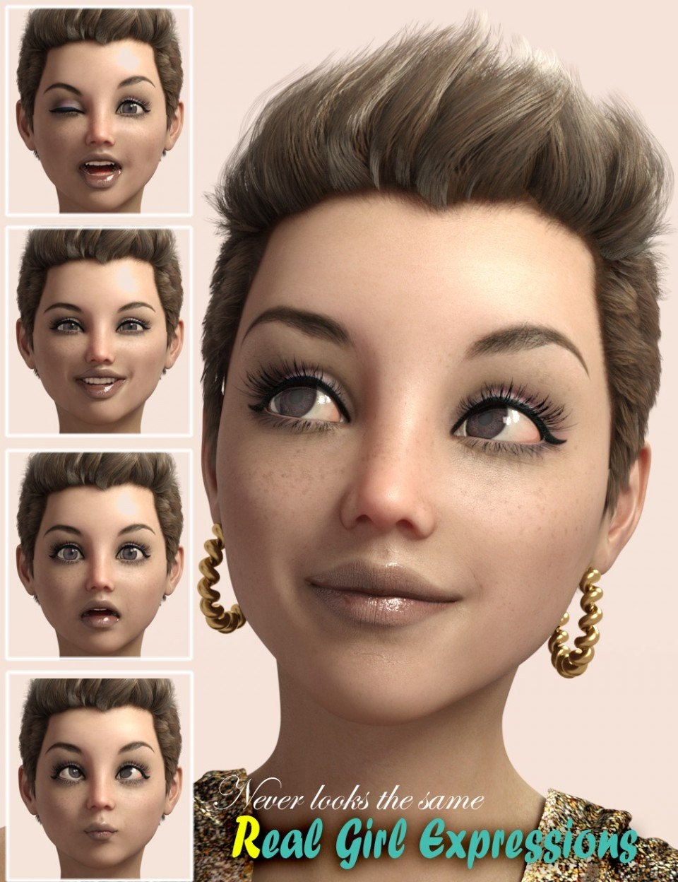 RealGirl Expressions for Genesis 3 Female(s)_DAZ3D下载站